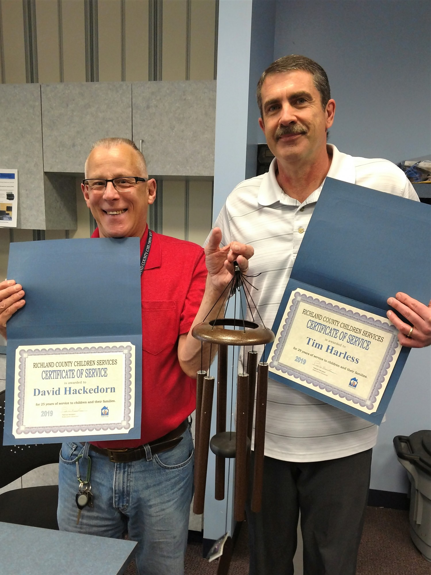 Hackedorn and Harless honored for a combined total of more than 50 years of service to RCCS